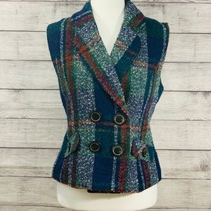 CAbi Plaid Tweed Wool Blend Vest